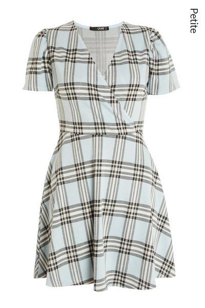 Petite Blue Checked Wrap Dress